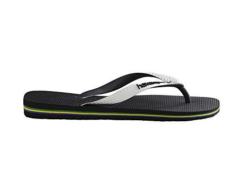 Havaianas Women's Brazil Mix Flip Flop Sandal, Black/White, 9/10 M US