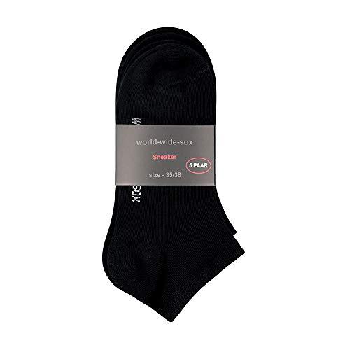 world-wide-sox ® SNEAKER Socken 5er Pack Komfortrand Damen und Herren (39-42)