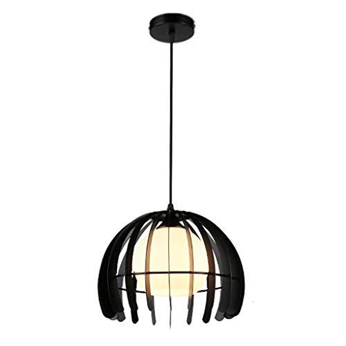 LMDH Industriel Vintage Style Loft Rétro En Fer Forgé Lumières Cage De Globe Rond Pendentif Lampe Luminaire Pendentif Lustre E27 Ampoules en Noir (Couleur : NOIR)