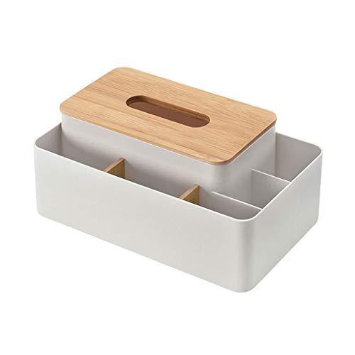 Caja de Pañuelos Cubierta de madera de bambú europea Caja de pañuelos Bandeja de escritorio creativa Hogar Sala de estar Control remoto Caja de almacenamiento Dispensador Pañuelos ( Color : White )