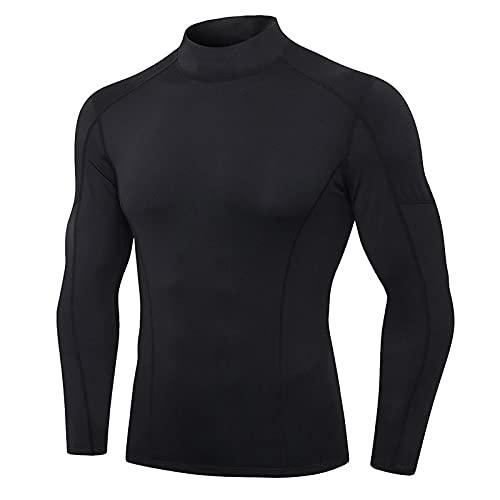 SSMDYLYM Ropa interior térmica para hombres de cuello alto para deporte camiseta térmica de secado rápido comprimido ropa interior ropa de hombre (color: E, tamaño: código M)