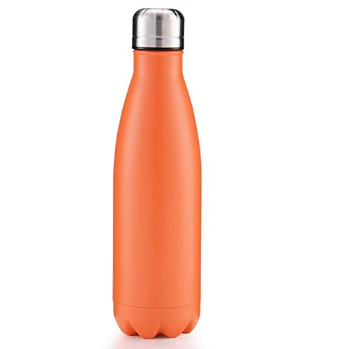 500ml Bottles Leak-Proof BPA-Free Stainless Steel Reusable Water Bottle Double Walled Vacuum Insulated Keeps Cold for 24+ Hrs, Hot for 12 Hrs-Orange