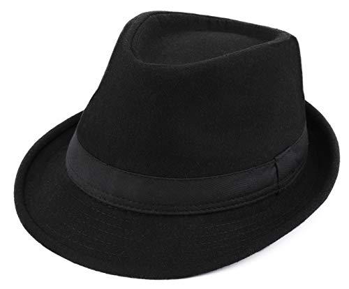 Besoogii Classic Unisex Trilby Fedora Hat (Black)