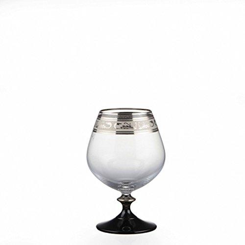 Bohemia Cristal Brandy, Cognacschwenker Angela plateada grabado y negro potencia 400 ml, 6 unidades