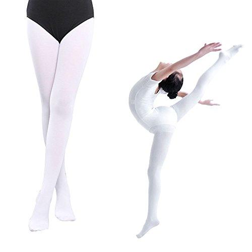 EULANT Collant Da Balletto, Collant Danza Classica Bianco, Calze da Danza per Ragazze, Rosa Calze Per Ballerine, 90 Den, L