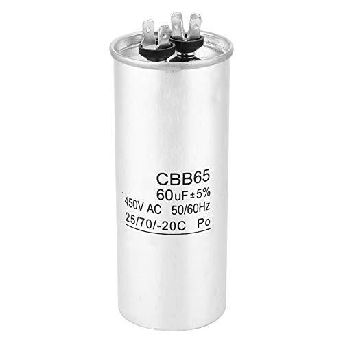 Condensador redondo, papel de aluminio, CBB65 60UF 450V Motor de arranque con condensador para compresor de aire acondicionado
