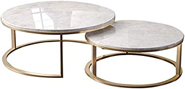 Round Marble Top Coffee Table Side Table Golden Metal Base Combination Small Family Home Balcony Nesting Tables,for Living Ro