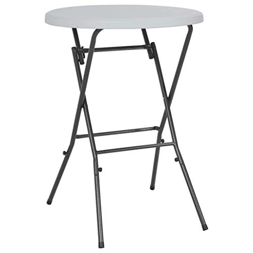 Festnight Table de Bar Pliable Table de Jardin Table d'Extérieur pour Terrasse Rond Blanc 80 x 110 cm