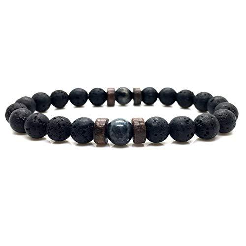 WDam Pulsera de Hombre con Cuentas de Piedra Lunar Natural, Pulsera de Buda Tibetano, Pulseras de Piedra de Lava, joyería para Hombre