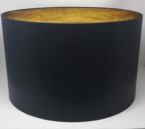 Lampenschirm Zylinder Form Schwarz Stoff Gold Futter Handarbeit Verschiedene Größen Deckenanhänger - Tisch (50 cm Durchmesser 30 cm Höhe)