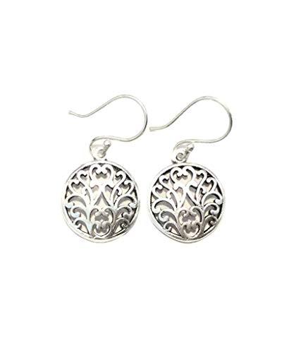 Urbiana Women's Brass Floral Drop Circle Earrings (Gold)