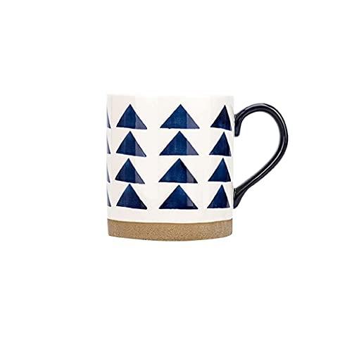 HCFSUK Taza de café, Taza de cerámica Brillante de Estilo japonés Pintada a Mano, Taza de té Blanco y hogar de 12 onzas para lavavajillas y microondas, Cuchara de café (Color: C)