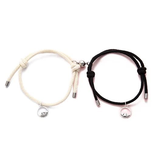 XIGAWAY 2 piezas cuerda de amistad trenzado distancia par pulsera magnética kit amante joyería, Tela,