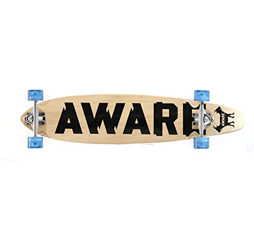 Aware Complete 38quot Longboard wt 150mm Silver Reverse Kingpin Trucks Clear Blue Wheels 65x47mm 78A ABEC7 percision Bearings and 3mm Rubber risers for All Ages