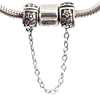 Clasp Safety Chain Charm 925 Sterling Silver Clip Stopper Charm for DIY Charm Bracelet (Fowler)