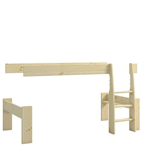 Steens For Kids Umbauset vom Einzelbett zum Spielbett , Hochbett, 114 x 113 x 206 cm (B/H/T), Kiefer massiv, natur