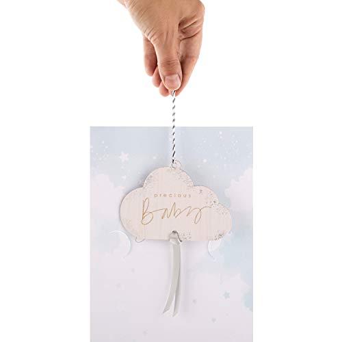Tarjeta de felicitación de nacimiento unisex de Hallmark con recuerdo desmontable, diseño contemporáneo con adorno colgante de nube de madera