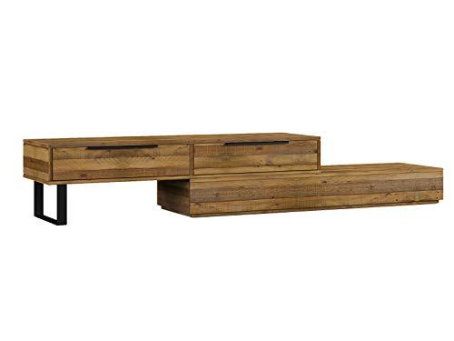 Woodkings® TV Bank Auckland variabel, Lowboard aus recycelter Pinie Holz Natur Rustic,TV Regal Möbel aus Massivholz und flexibel stellbar, Wohnwand modern TV Möbel mit 2 Schubkästen
