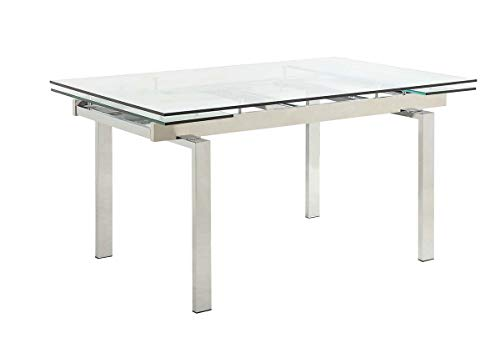 Coaster 106281 Contemporary Glass Dining Table with Leaves, Silver