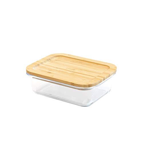 Pebbly PKV-009 Boîte hermétique en Verre et Bambou, Borosilicate, Naturel, rectangulaire-1 L