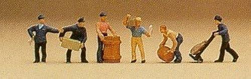 Delivery Men (6) w Crates N Preiser Models by Preiser