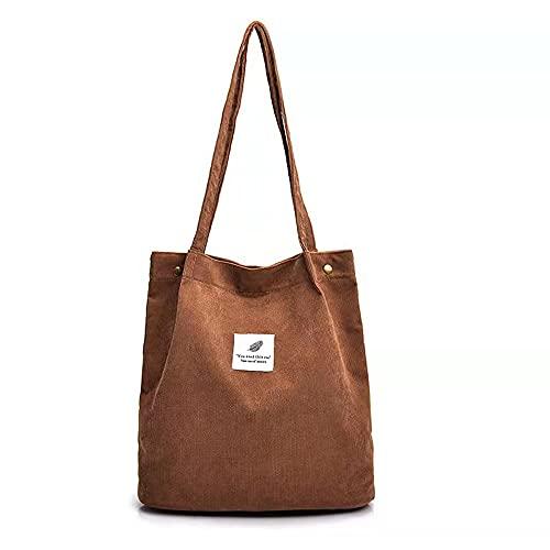 Nircho Handtasche Damen Groß Cord Tasche Damen Casual Handtasche Shopper Damen Chic Schultertasche Henkeltasche Umhängetasche Tasche Crossbody Bag Shopper für Alltag Schulausflug (Braun)