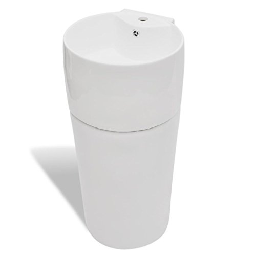 sazoley Keramik Standwaschbecken - Rund Waschbecken Keramikwaschbecken mit Hahn/Überlaufloch, Weiß 400 x 415 x 860 mm (B x T x H) freistehend oder Wandhängend