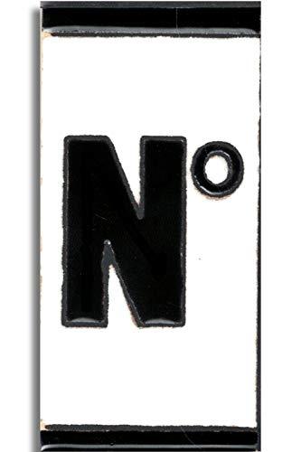TORO DEL ORO Números casa exterior - Placa Puerta - Cerámica esmaltada - Pintados a Mano con la técnica de la cuerda seca - Nombres y direcciones - Modelo Polo 5,5 cms x 10,5 cms (Símbolo Número'Nº')