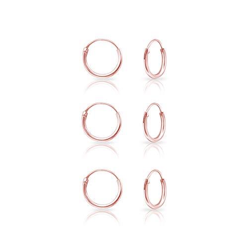 DTPsilver® 3 Paare KLEINE Creolen Ohrringe 925 Sterling Silber Rosen-Gold überzogen - Knorpel/Wendel/Tragus - Dicke 1.2 mm - Durchmesser 10 mm