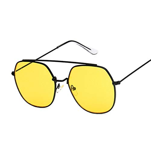 NJJX Gafas De Sol Cuadradas Rosas De Moda Para Mujer, Gafas De Sol Poligonales, Montura Metálica Para Mujer, Espejo Oceánico, Vintage, Negro, Negro, Amarillo