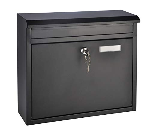 HI Briefkasten Metall (Schwarz) - Postkasten mit Namensschild, Briefkasten klein (ca. 36 x 12 x 32 cm), Namensschild Briefkasten dunkel, Briefkasten A4 Einwurfformat