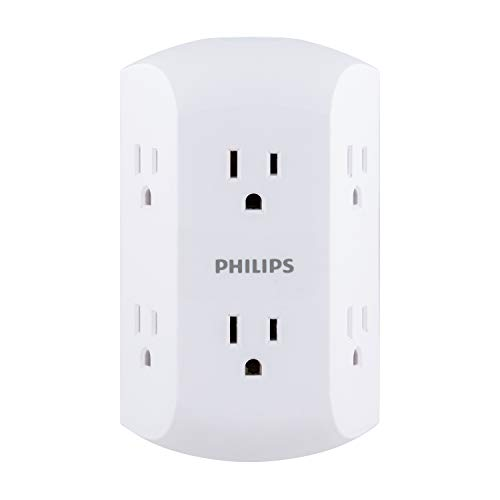 Philips 6 Outlet Wall Plug Adapter Power Strip, Extra Wide Spaced Outlets for Cell Phone Charger, Power Adapter, 3 Prong, Multi Outlet Wall Charger, White, SPS1740WA/37