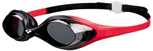 arena Kinder Unisex Training Wettkampf Schwimmbrille Spider Junior (UV-Schutz, Anti-Fog, Harte Gläser), rot (Red-Smoke-Black), One Size