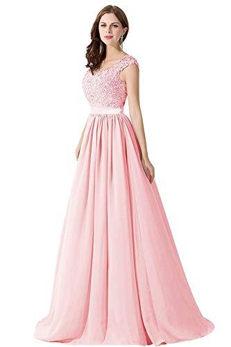 MisShow Damen Elegant A Linie Chiffon Abendkleid lang Abiballkleid Brautjungfernkleider Maxilang...