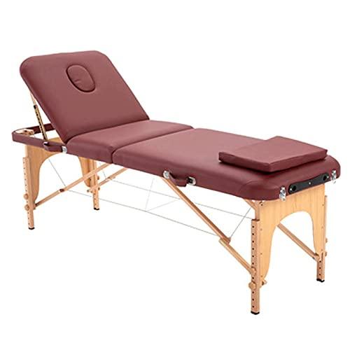 Table De Massage Pliant En 3 Sections Avec Pieds En Bois, Pliable Et Portable, Avec Trou Pour Le...