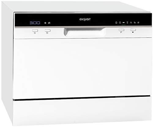 Exquisit Tischgeschirrspüler GSP206 / 55cm / Mini Spülmaschine/Platz für 6 Maßgedecke / 7 Spülprogramme/Weiß