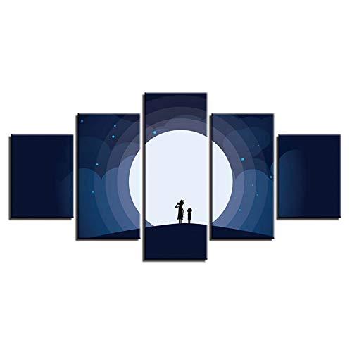 WHFDH Decoratieve woonkamer Hd Print 5 personen en maan canvas schilderij poster muurkunst modern nachtscène afbeelding 30x40 30x60 30x80cm Geen frame.