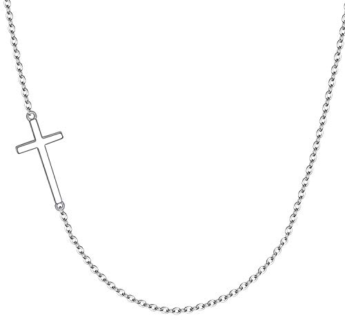 XOYOYZU Tiny Cross Pendant Necklace for Women Simple Cross Necklaces Mothers Day Birthday Gifts for Women Girl (Choker Cross)