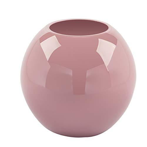 Fink 115276 Vase, Blumenvase - Moon - Glas - Rose/rosa - Höhe 13,5 cm - D: 16cm