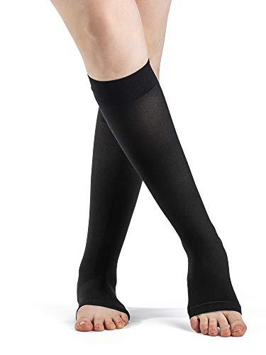 SIGVARIS Women's DYNAVEN Open Toe Calf-High Socks 20-30mmHg