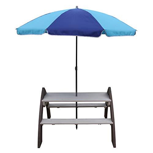 AXI Kylo Picknicktisch für Kinder aus Holz | Kindertisch mit Sonnenschirm für den Garten in Grau & Weiß