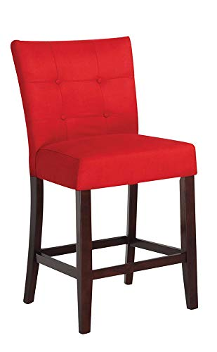 HomeRoots Counter Height Chair (Set-2), Red Microfiber & Walnut - MFB, Wood Red MFB & Walnut