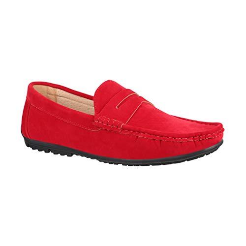 Elara Mocasines para Hombre Zapatos de Vela Chunkyrayan UM101 Rouge-41