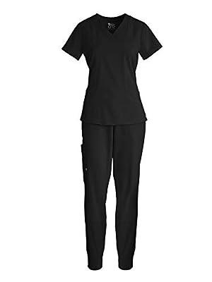 BARCO One 5105-BOP513 Women's V-Neck Top + Boost Jogger Pant Medical Scrub Bundle Black XS-XS