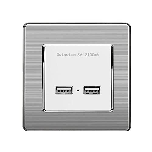 Puerto de carga de la pared de la pared DUAL USB Puerto de carga de inducción inteligente para móvil 5V 2.1A Panel de acero inoxidable de salida-blanco_110-240v