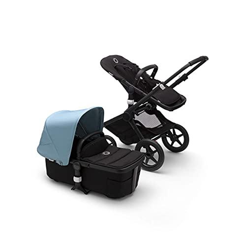 Bugaboo Fox 2, Ultimativer 2-in-1 Kinderwagen: Leichter Komfort-Buggy für jedes Terrain, 0-4 Jahre, schwarzes Fahrgestell & dunstblaues Sonnendach