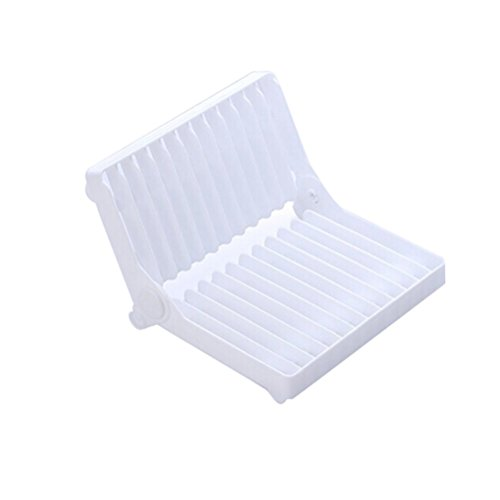 LEORX en plastique pliable Égouttoir à vaisselle, Égouttoir à ustensiles (Blanc)
