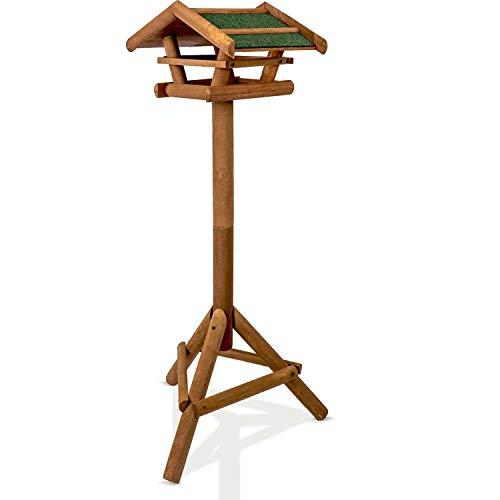 deintierhaus.de© | Vogelfutterhaus mit Ständer - Vogelhäuschen aus Holz - Schutz gegen Regen & Schnee - Vogelhaus für Vogelfutter - Vogelfutterstation, Futterhaus, Futterstelle | ca. 120 x 38 x 28 cm