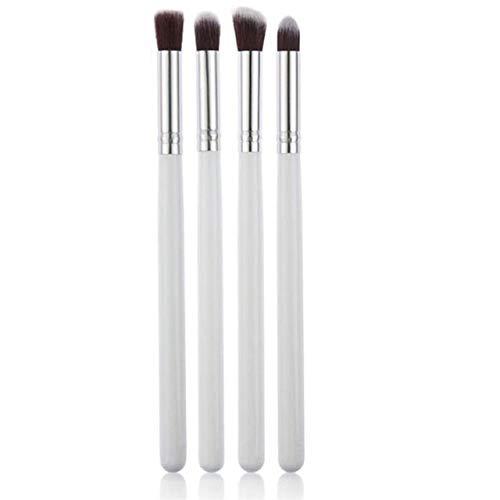 LinZX 4PCS Ensembles Professionnels de pinceaux de Maquillage, Brosse Ombre Ombre à paupières Oeil Eyeliner Fonds Hybrides Outils de Maquillage,White Silver