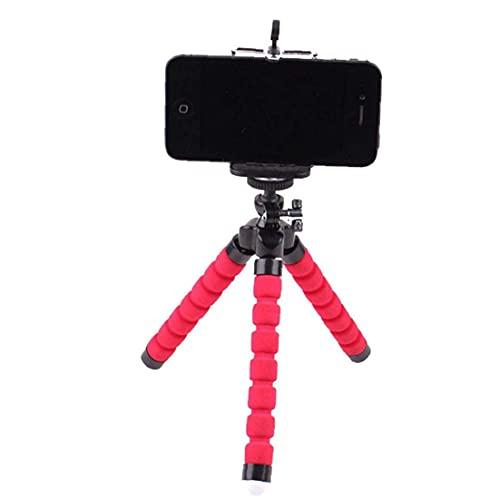LIHENG Soporte de trípode para teléfono celular portátil Soporte de pulpo trípode flexible con soporte universal para todos los teléfonos móviles rojo
